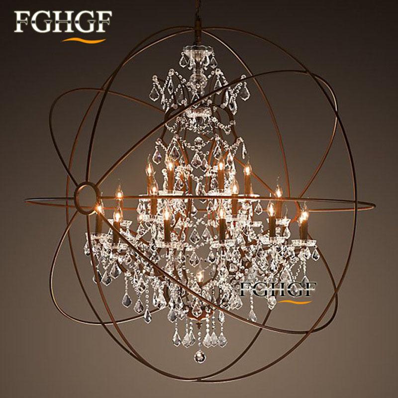 vintage crystal chandelier hanging light lamp lustres orb gl