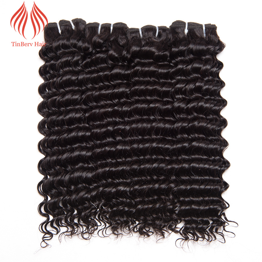 Tinberv Brazilian Deep Wave 1PC Natural Color Virgin Hair Bundles 100% Human Hair Weaving