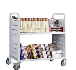Library W type book cart with 2 shelves RCA-2D-LIB15