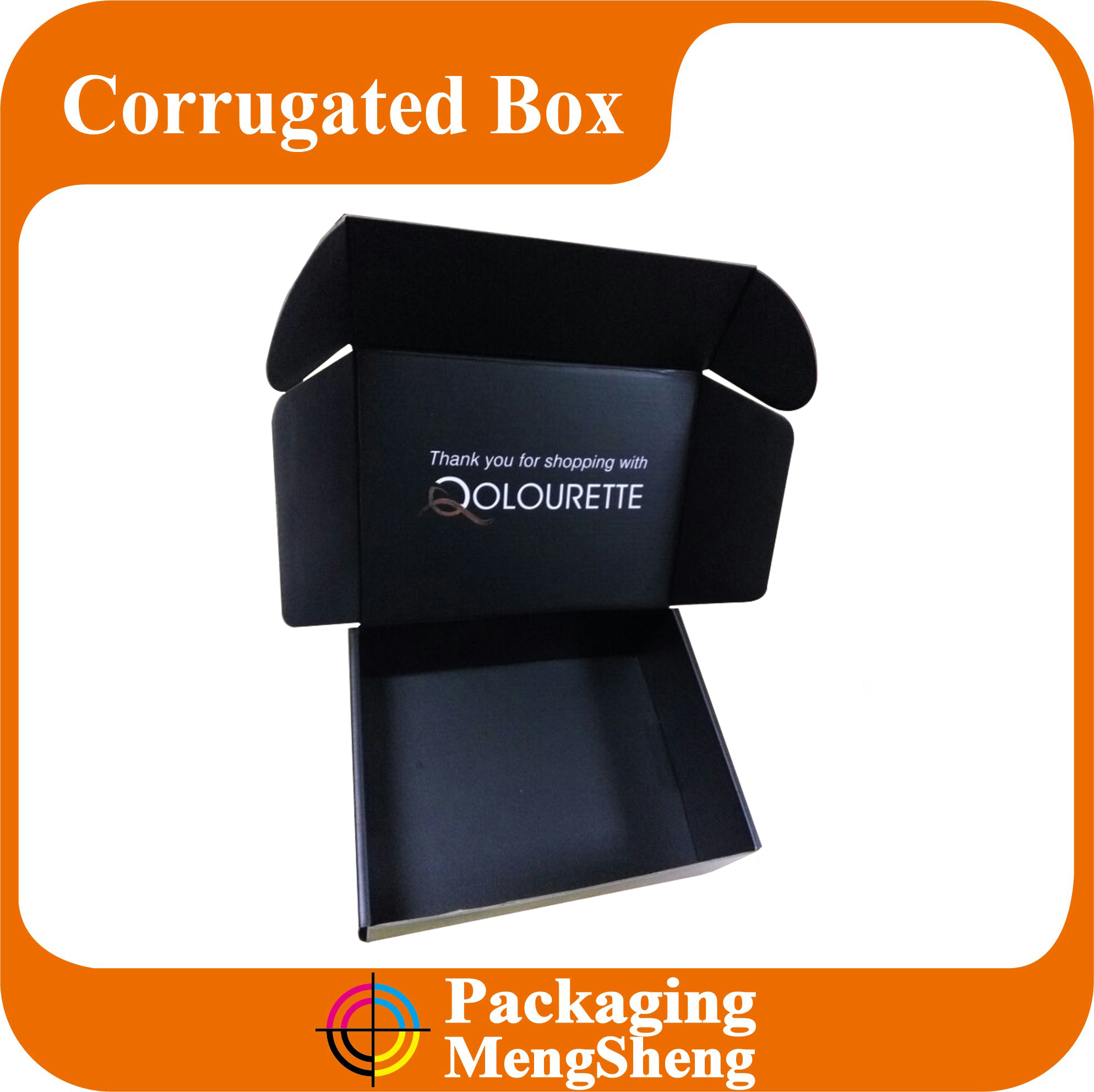 Custom cardboard matte black box E flute corrugated box Shipping protective box