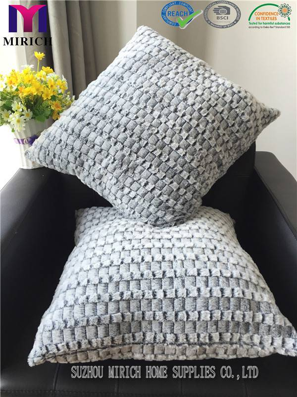 Fake Fur Bottom Printed Check Design Factory Cushion