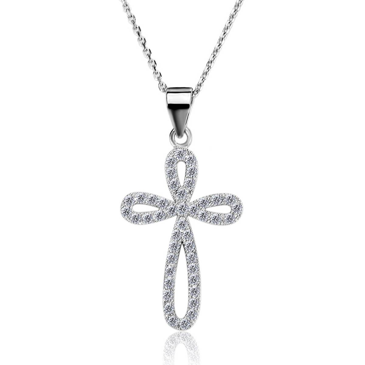 Shiny Star New Arrivals 925 Silver Cross Necklace with Link Chain Clear White AAA Zircon Necklace Pe