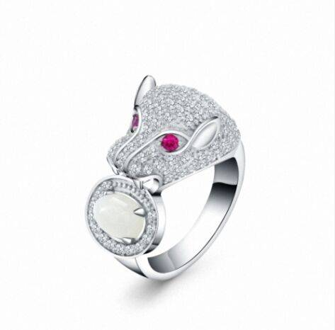 Hot sale good quality promotional rhodium plated animal leopard jewelry ring