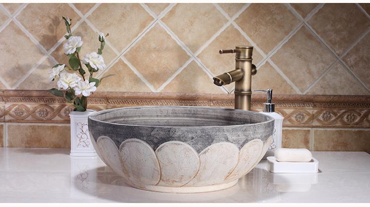 Handmade High-end Classical Bathroom Porcelain Above Countertop Ceramic Wash Basin Sinks