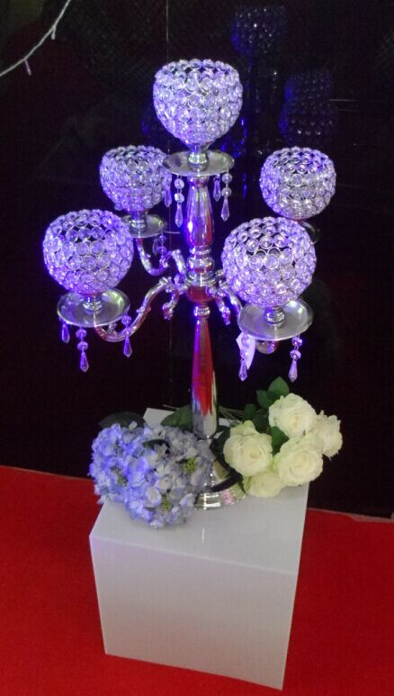 New Tall crystal silver metal candlestick holder for wedding floor decoration