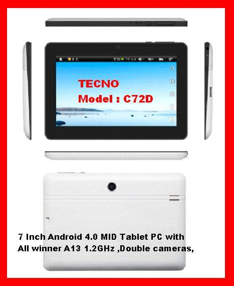 """Tecno:TC72D 7""""Android 4.0 MID Tablet PC with All winner A13 1.2GHz ,Double cameras,"""