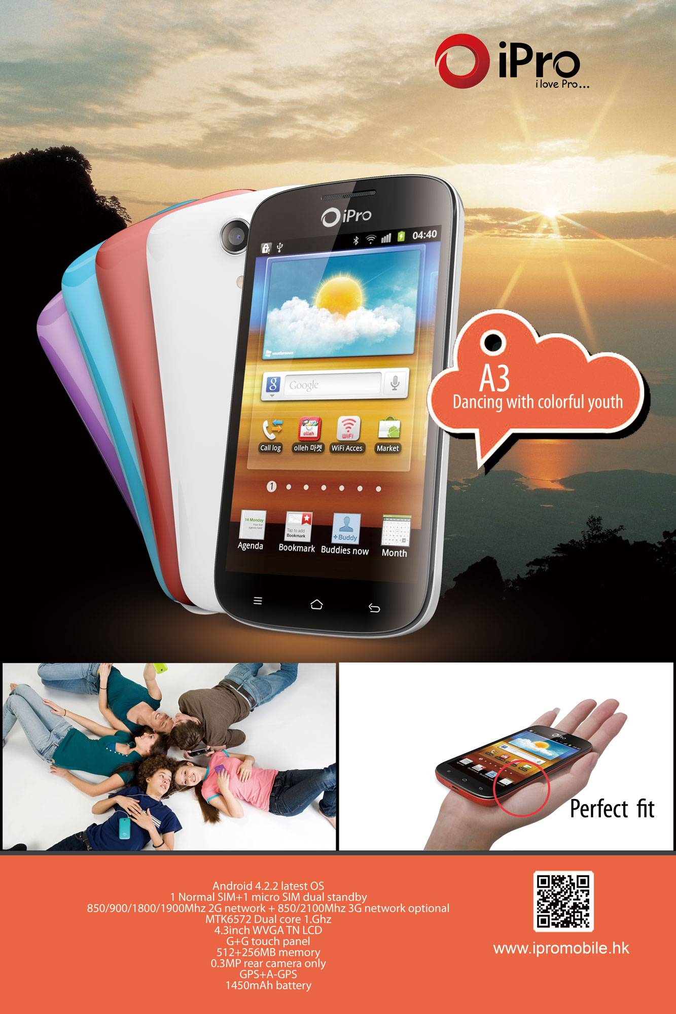 "4.3""android smart phone iPro A3"