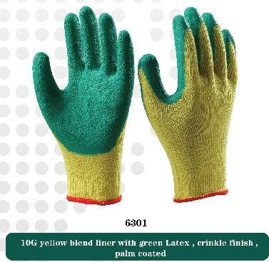 10G blend liner with latex crinkle working safety gloves