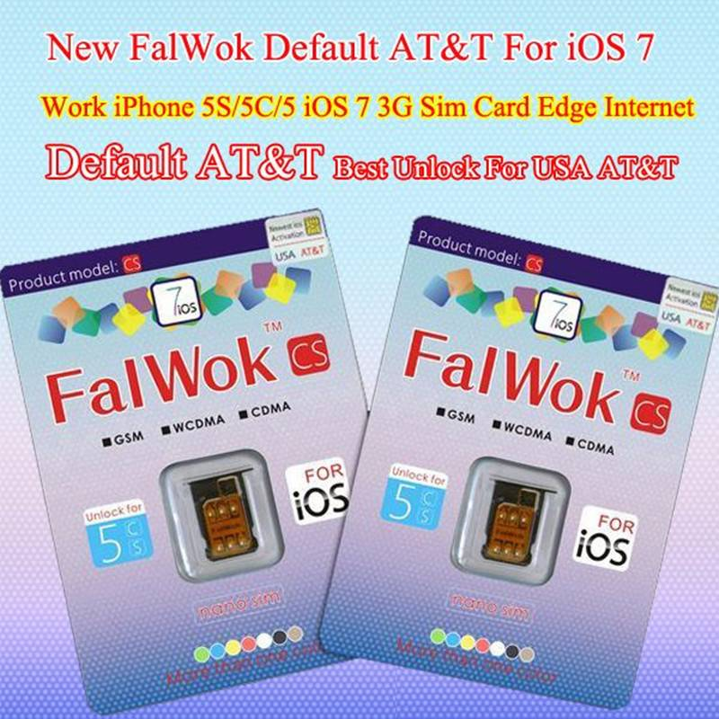 FalWok CS Default AT&T Unlock sim card for iPhone 5S/5C/5 Only Unlock USA AT&T Carrier use 3G sim ca