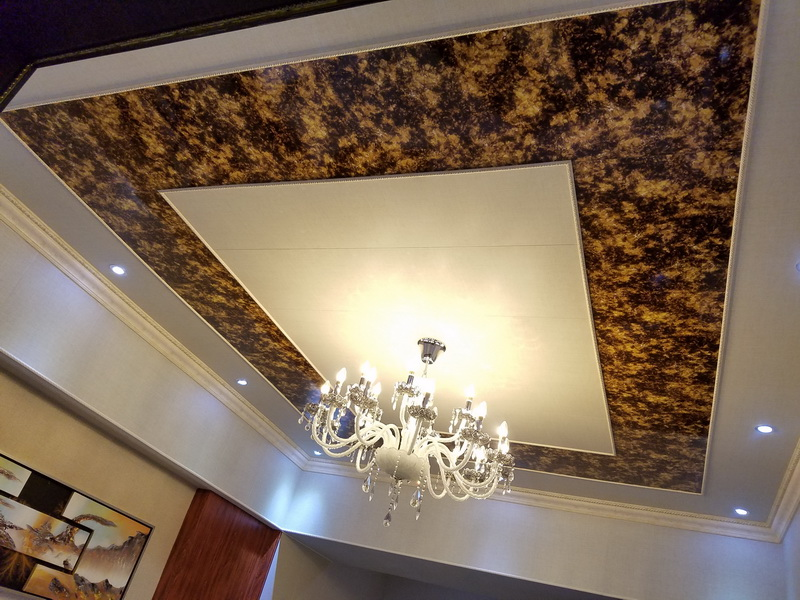 Acoustic ceiling board with PU foam layer inside