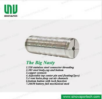 Stainless Steel Big Nasty Mod 26650 Battery KSD Big Nasty E Cigarette