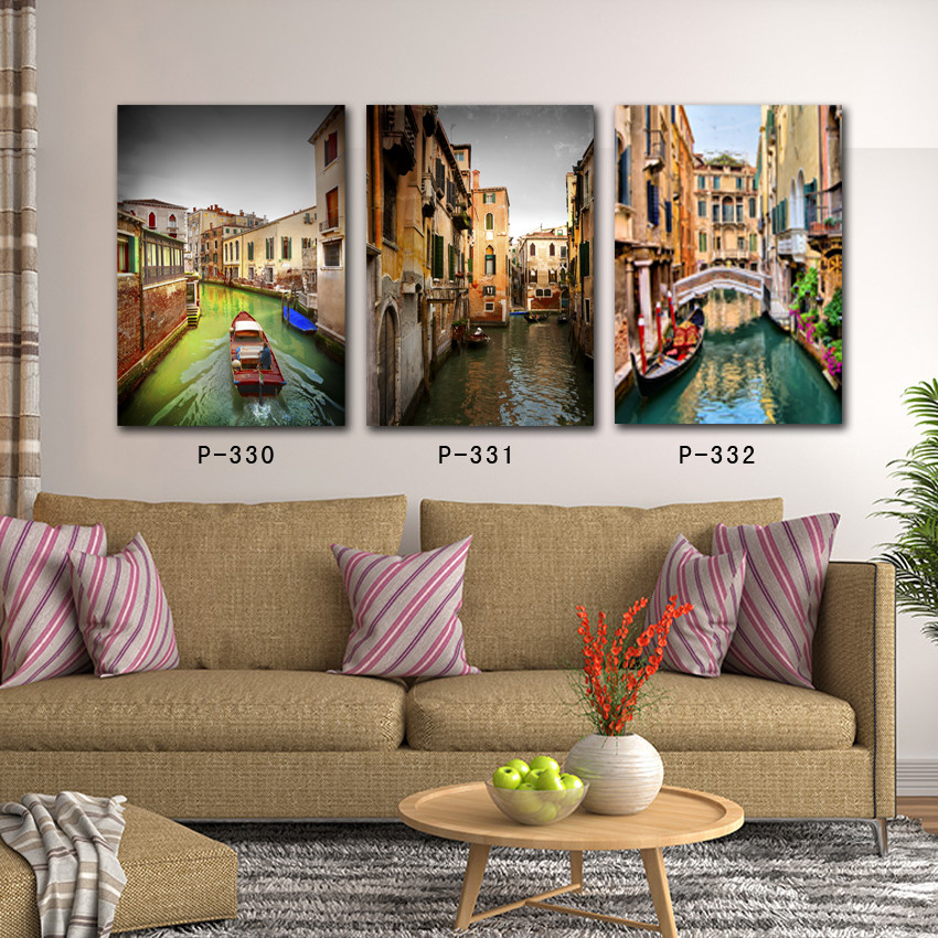realistic landscape oil painting 3 panel Venice wall art canvas prints photo custom pictures