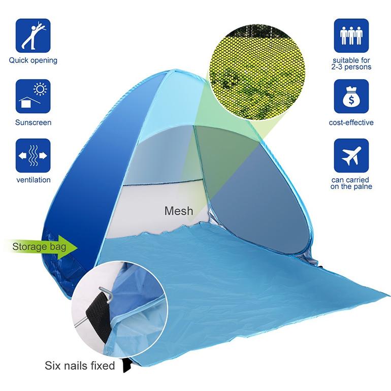 2-3 Person Pop up beach tent sun shelter,Pop Up Portable Family Beach Tent