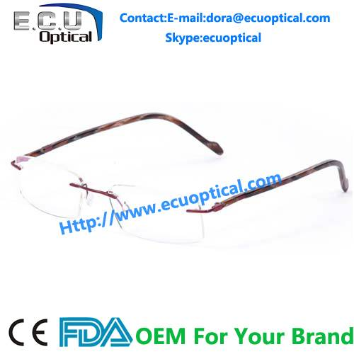2014 new style Titanium rimless optical glasses frame unisex eyewear optical frames manufacturers in