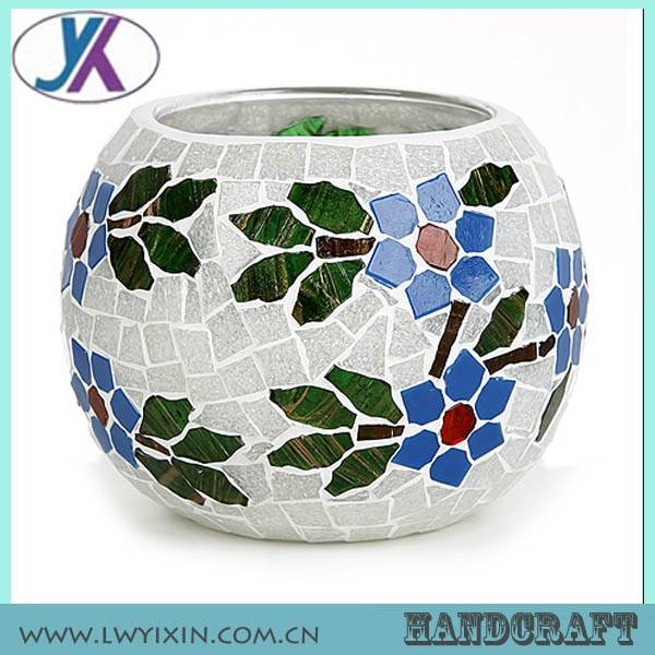 Handmade Cheerful Different Candy Color Glass Mosaic Candle Holder