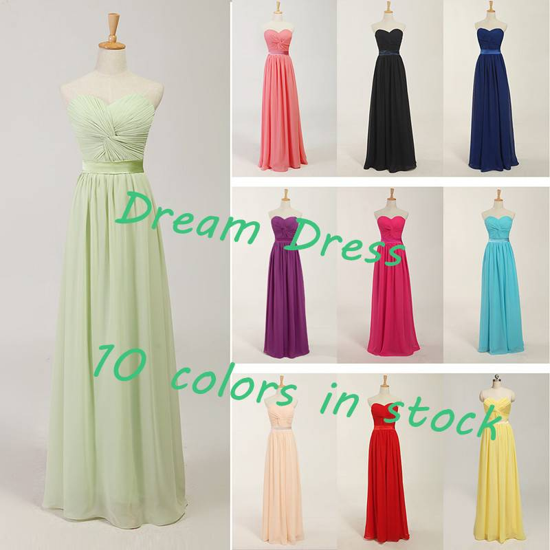 2014 Hot Sell Stock Pink/Red/Green/Yellow/Blue Chiffon  Bridesmaid Dress Bridesmaid Gown Party Dress
