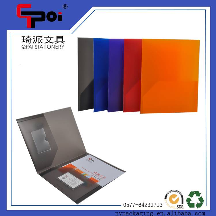A4 Paper PP Plastic Folder With Pocket And Business Card Holder Colorful File Folder