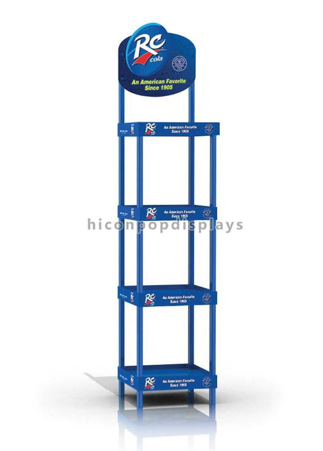 Blue Powered Metal 4-leg Retail Store on Sale Cola Display Standee