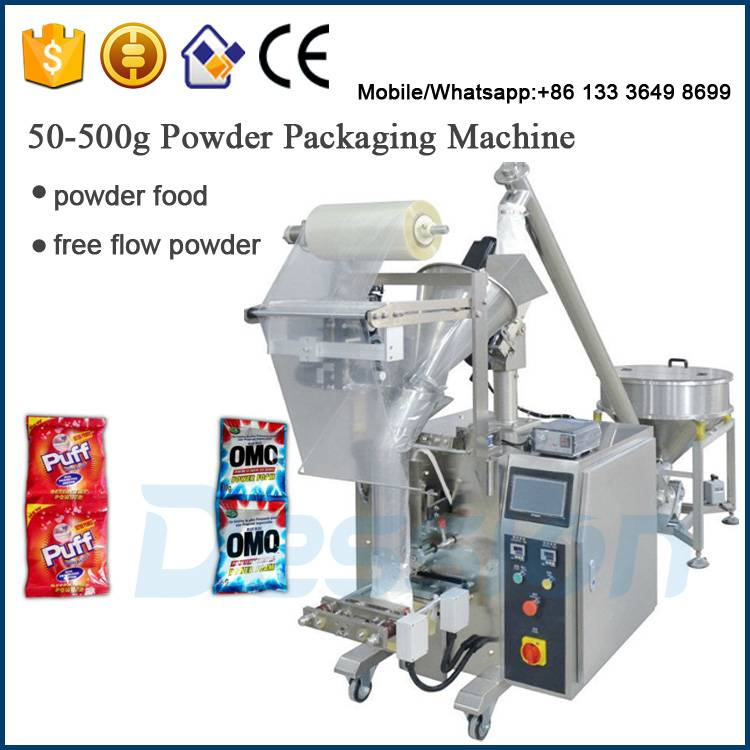 Pneumatic FFS machine with auger filler for washing powders packing