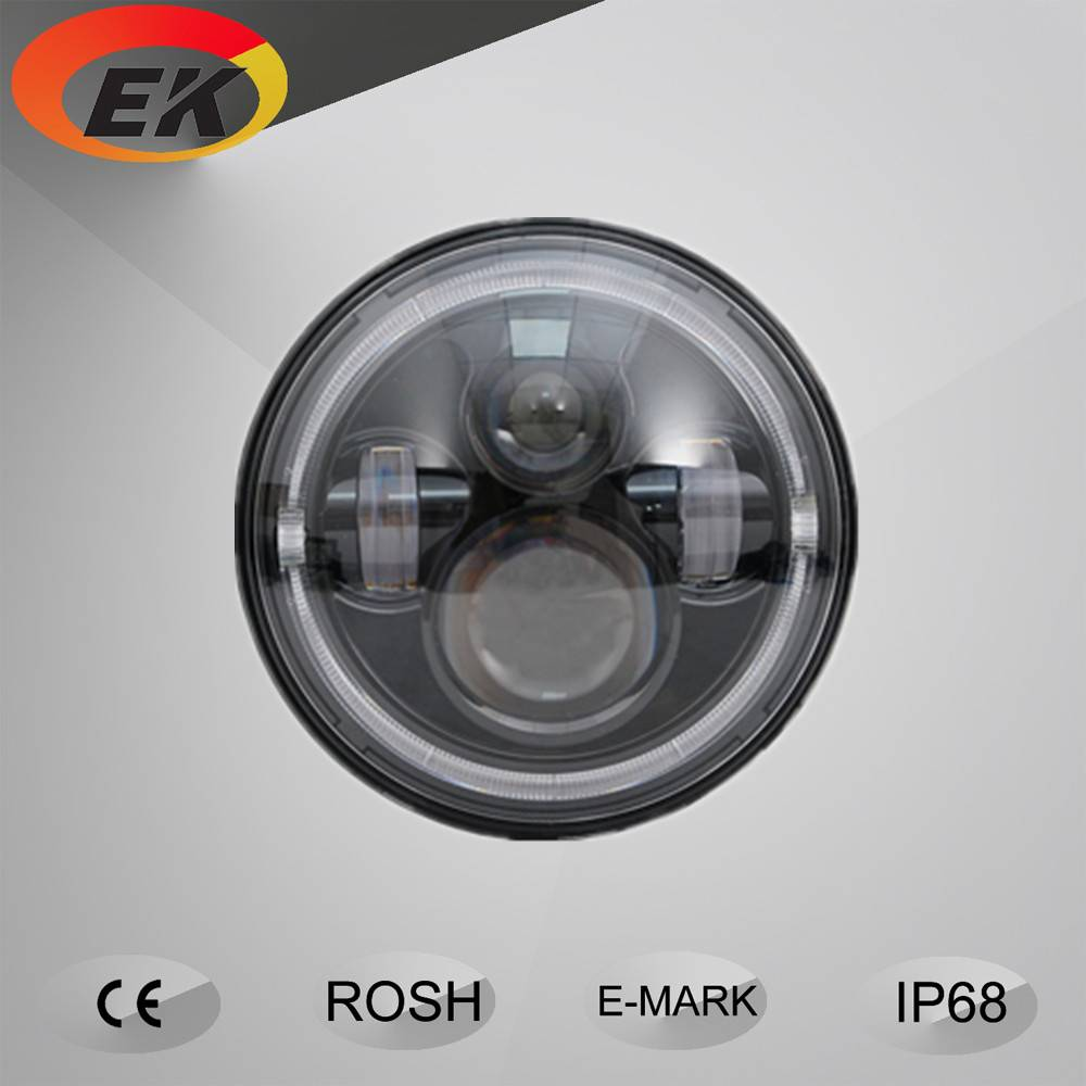High quality high lumens 12V DC 7 inch round 80w Jeep led headlight with angle eye
