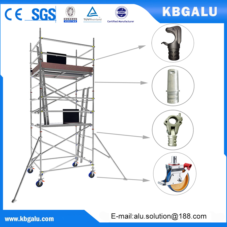 double width aluminum scaffold tower with 4.0m standing height