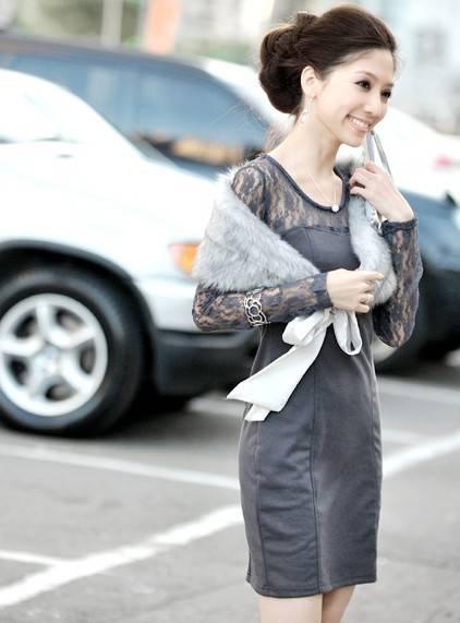 wholesale Vogue Slender Lace gray Dress