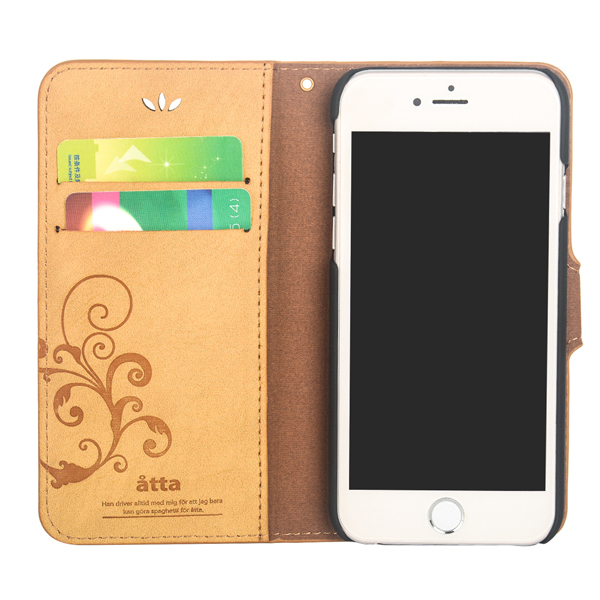 Book style flip cover leather phone case for apple iPhone 6