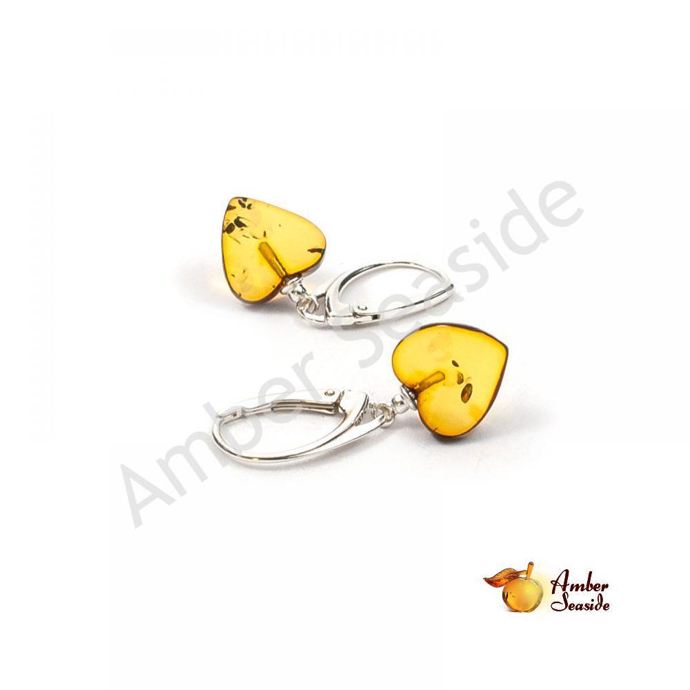 """Amber Earrings """"Hearts"""" .925 Sterling Silver"""