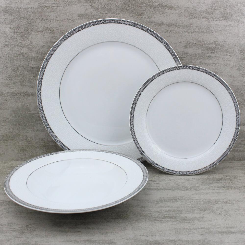 silver rimmed dinnerware