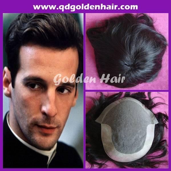 100% High Quality Braziian Virgin Remi Human Hair Men's Toupee