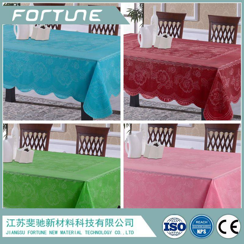 pvc sheet printed big flower wavy edge table cloth