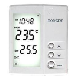 Dew-proof thermostat for hydronic radiant floor cooling heating AC system