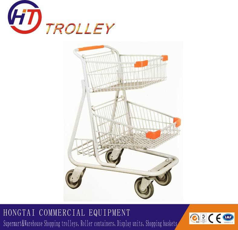 metal shopping carts with two tiers wholesale