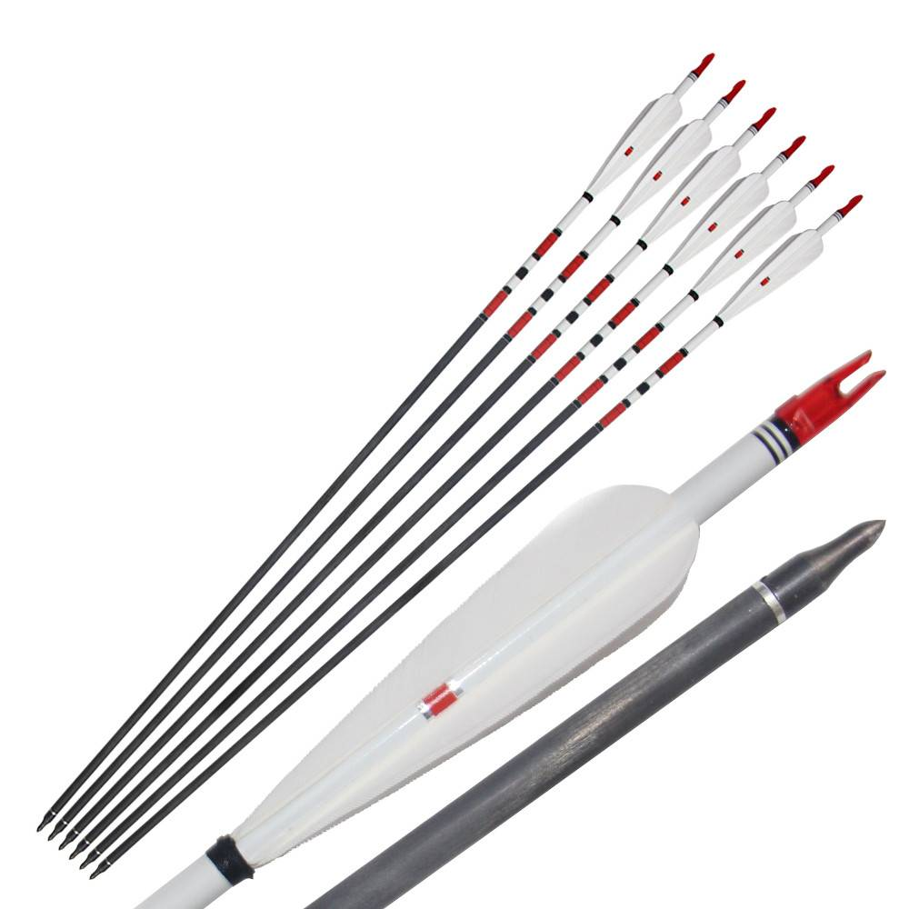 High Quanlity31'' Pure Carbon Arrow 4pcs Feather Compound and Recurve Bow