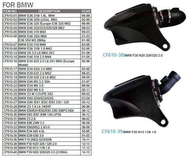 BMW Carbon Fiber Aero Form Intake System SIMOTA