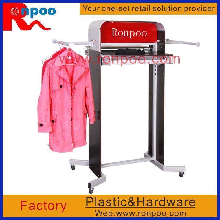 Double-Rail Fold Up Clothing Rack,Retail Shelving,Counter Top Style T-shirt Bag Rack,Heavy Duty Clot