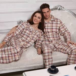Cotton Couples Night Pajama Long Sleeved grid Sleepwear Suit