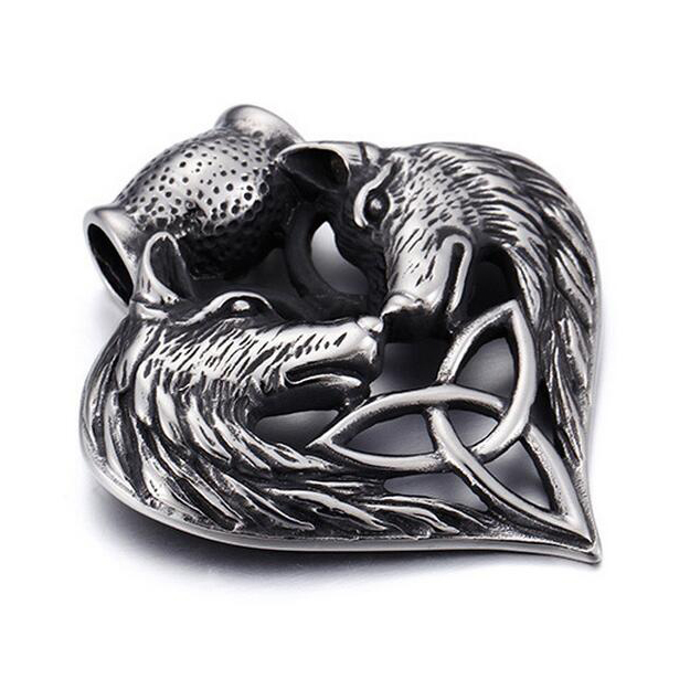 Retro Domineering Double Wolf Head Stainless Steel Pendant Personalized Rock Punk Wolf Pendant