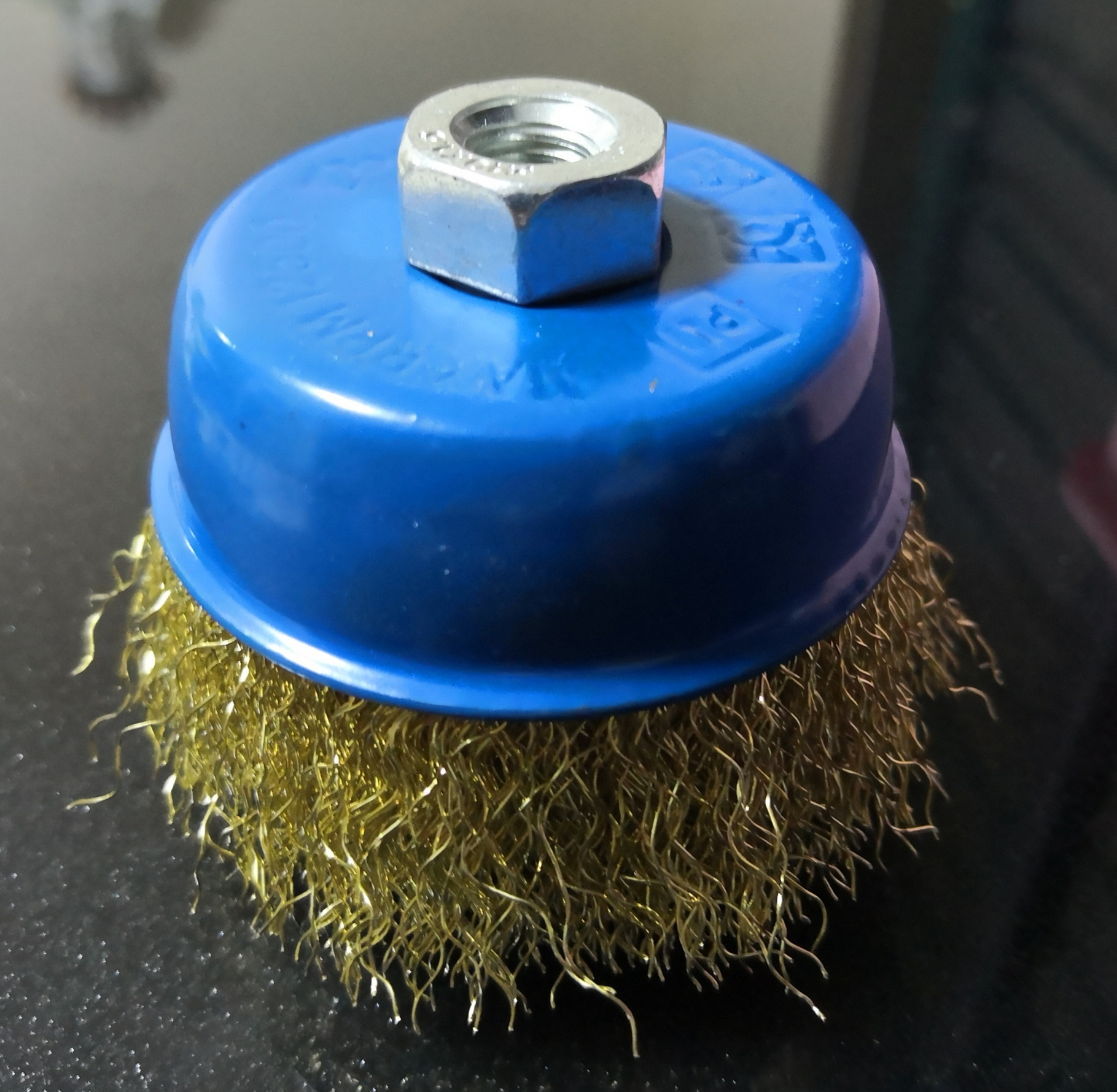Crimped wire cup brush 100mm M14-2 brass coated steel wire