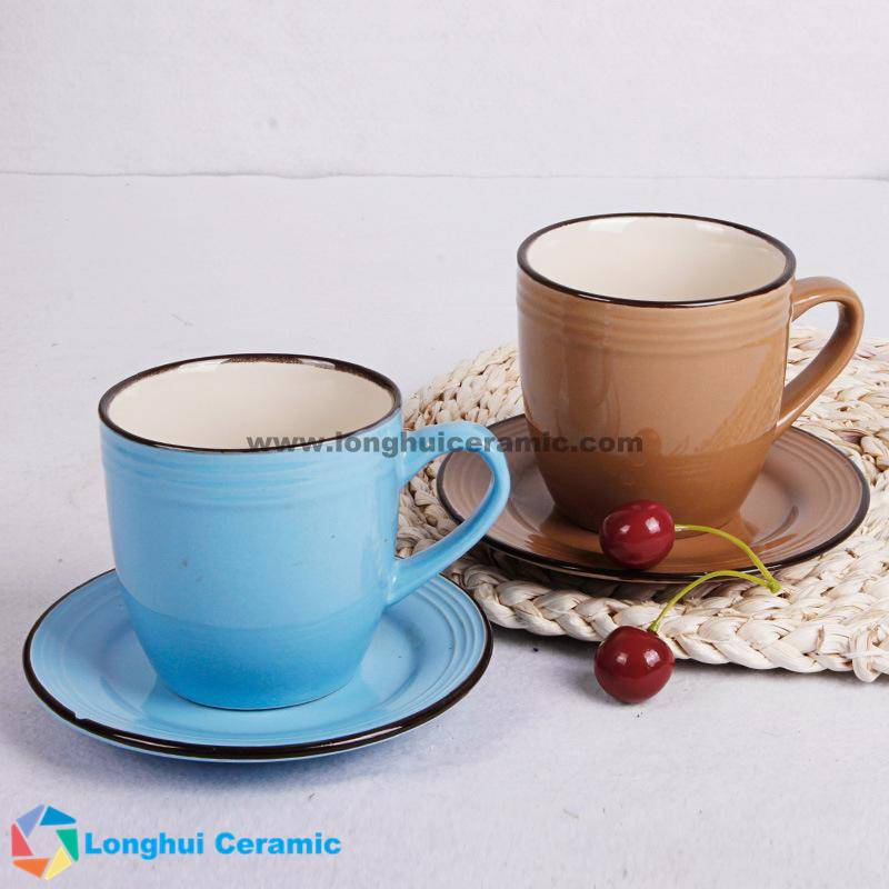 Pure colorful glazed coffee cup&saucer with screw thread