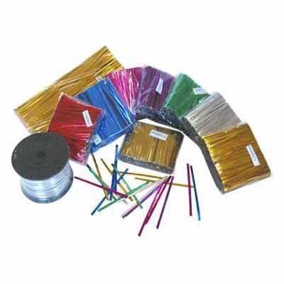 PET metallic wired twist ties for bag sealing