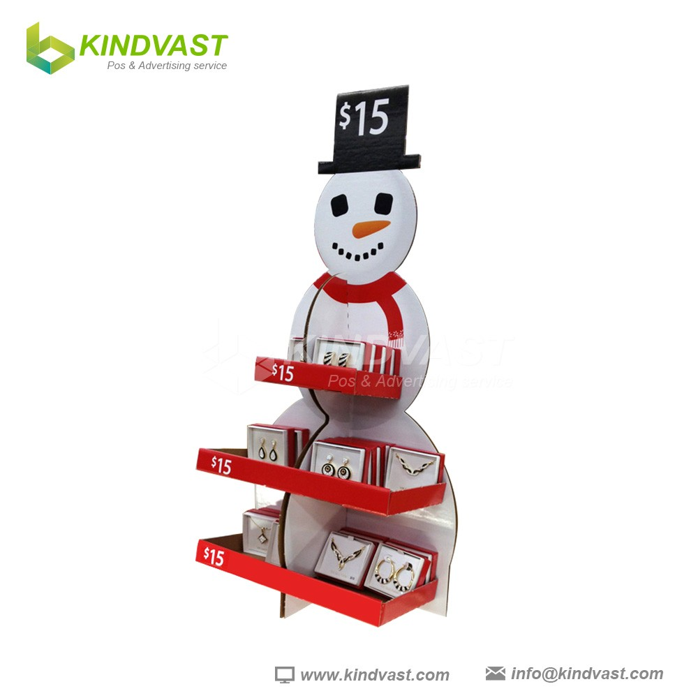 Cheap price good quality cute snow man shape jewelry cardboard display stand