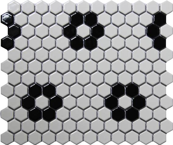 White and black Hexagon ceramic mosaics