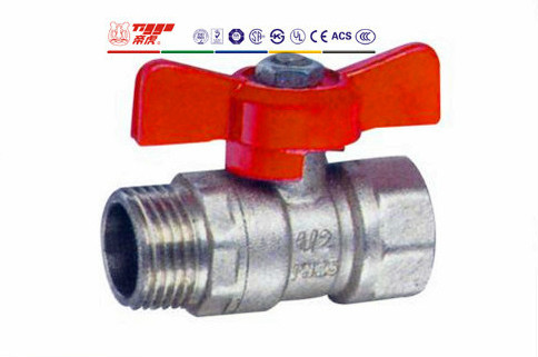 Butterfly Handle Brass Ball Valve Nickel Plated T01066