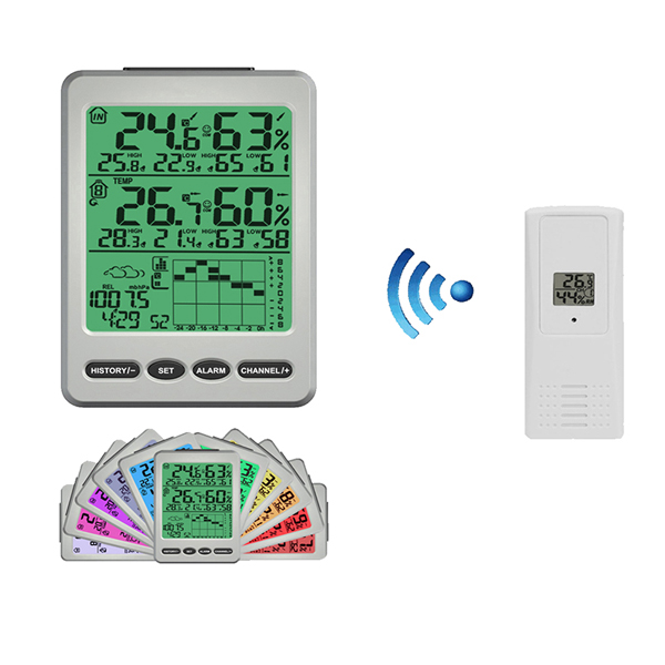 8 channel weather stations with color display