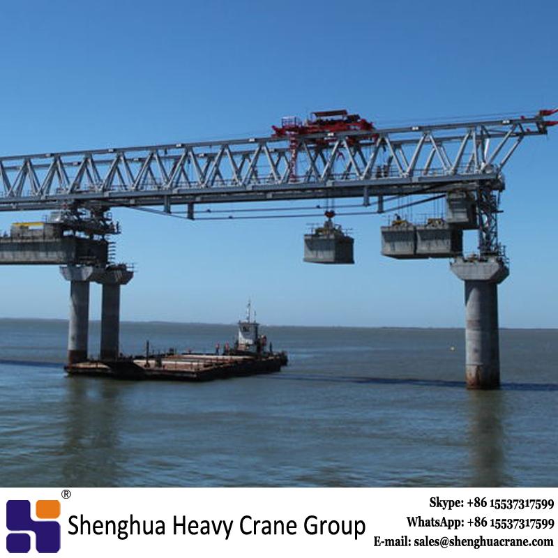 Double girder overhead segmental launching girder equipment for bridge erection