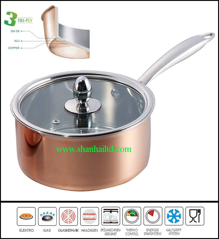 New product in China 3Ply copper milk pan