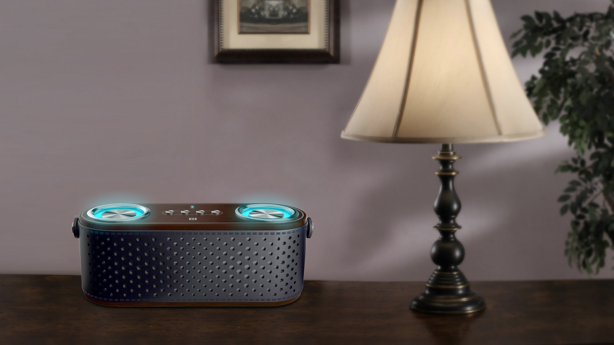 Bluetooth Speaker DSP Stereo Sould Aux Input Flashing Blue Light