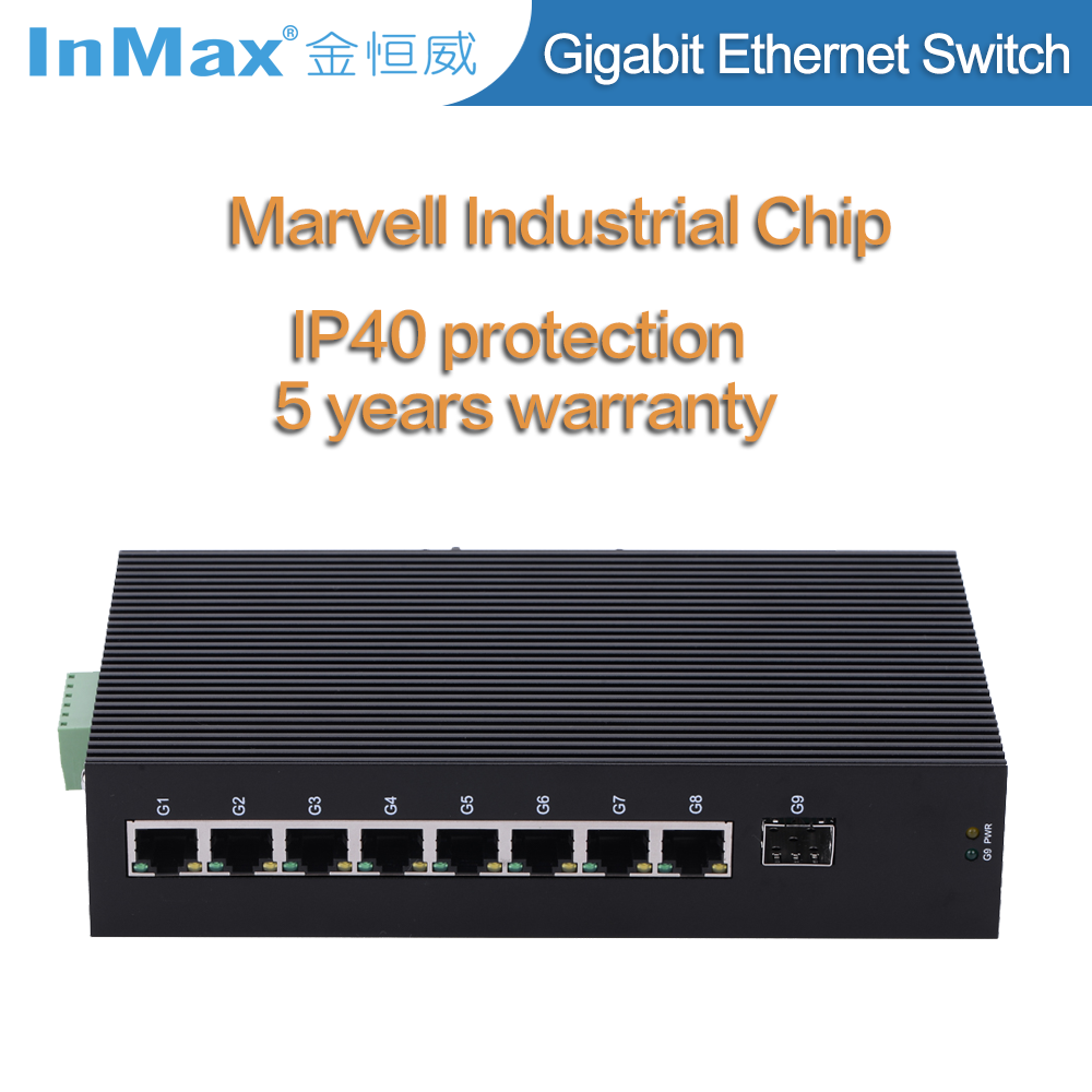 9 ports Full Gigabit Unmanaged Industrial Ethernet Switch i509A