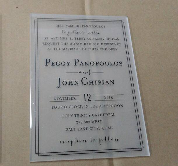 Acrylic clear wedding invitation card